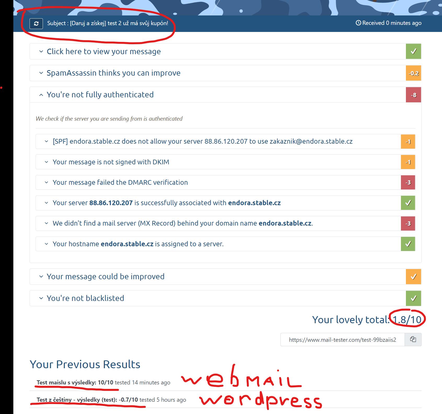 mail tester vysledky